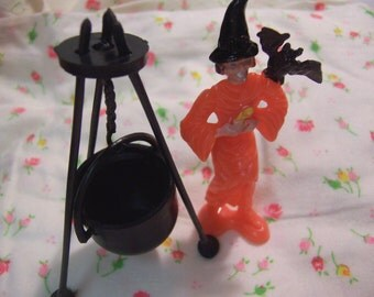 halloween witch and her cauldron