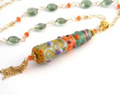 Gold Chain Necklace With Lampwork Pendant, 24 Inch, Green Tourmaline, Carnelian, Orange, Long Necklace