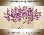 """Modern Wall Art oil painting purple flower tree painting wall art wall decor Palette Knife impasto """"Petals of Filigree"""" by QiQiGallery"""