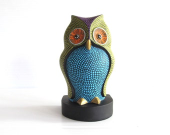 Colorful Owl Bookend Statuette Owl figurine paperweight Hand Painted Owl art