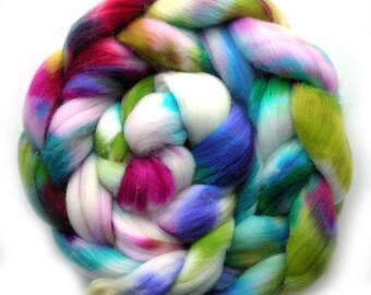Roving Targhee Superwash Hand dyed Combed Top - Jungle, 5.0 oz.