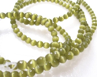 On Sale 50 Olive Green Cat's Eye beads, 4mm Faceted Round, Grade A cat's eye beads GB 728