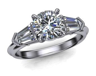 Diamond Engagement Ring, Geometric 3 Stone Cathedral Setting