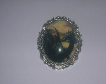 black gothic dragon brooch