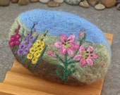 Felted Soap - Yuzu Champagne Scented with a Lily and Gladiolus Floral Landscape Theme