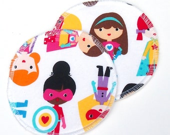 "Large Reusable Nursing Pad Set in Bamboo/Organic Cotton with hidden PUL - quilter's cotton top - ""Supergirls"""