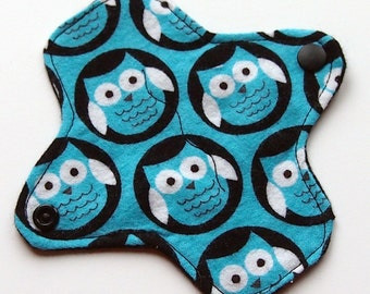 Reusable Cloth winged ULTRATHIN Pantyliner - 6 Inch - Midnight Owl -Cotton flannel top