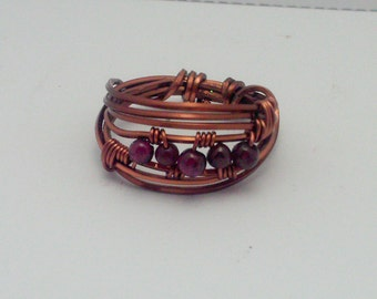 Copper Garnet ring size 8