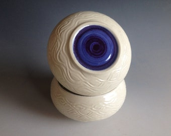 Extra Large, French Butter Keeper, 3 Sticks Butter Capacity, Delicately Carved, White with Big Happy Purple Dot, Butter Bulb (TM)