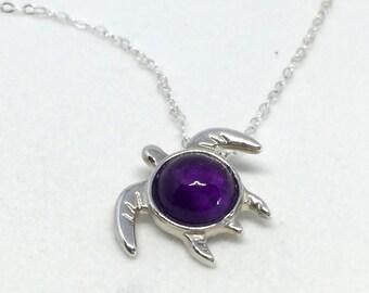Amethyst Turtle Pendant - Unique Gem Quality Amethyst Cabochon Turtle Necklace - Turtle Totem Necklace - February Birthstone - Sea Life