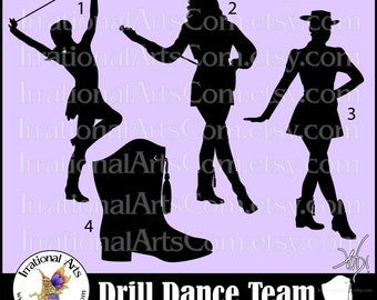 Drill Dance Team Silhouettes set 2 - 4 EPS & SVG Vinyl Ready files and 4 PNG Digital Graphics and Small Commercial License