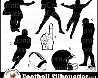 Football Silhouettes set 1 - with 8 Digital Graphics  PNG file formats Quarterback  receiver helmet {Instant Download}