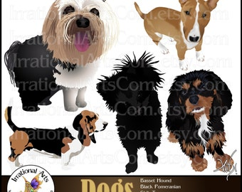 Dogs mixed set 2 - 5 Digital Graphics Pomeranian Shih Tzu Basset Hound Bull Terrier Cavalier Spaniel{Instant Download}