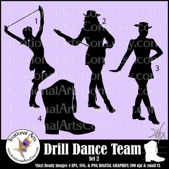drill dance team silhouettes set 2 4 eps amp svg vinyl ready