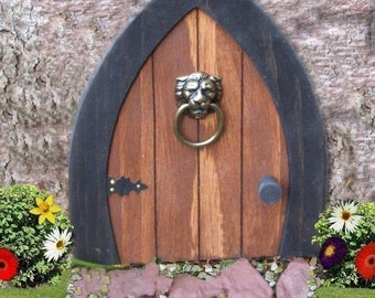 Gnome doors, Fairy Doors, Faerie Doors, Elf Doors, 9 inch with Lion Knocker.