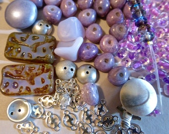 Mix of Assorted Vintage and New Beads to Play With - Purple & Pink Tones OOAK   (S)