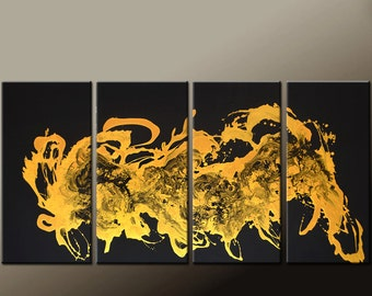 4pc Abstract Art Painting on Canvas 72x36 Original Gold Contemporary art Paintings by Destiny Womack - dWo - Enlightened