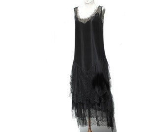 Vintage Black Chiffon and Lace Flapper Dress / 50's Dress