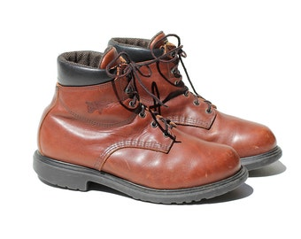 Brick Brown Leather Men's Ankle Boots / size 12.5