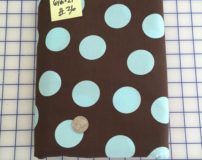 SALE 6.66 Yds - Brown Aqua LARGE POLKA Dot #36 Robert Kaufman Pimatex Cotton Quilt Dress Fabric
