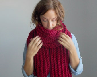 Chunky Scarf ~ open ended ~ chunky knit ~ ribbed wool ~ style #1015 shown in Cranberry ~ choose your own color