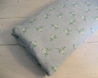 2.9Y Vintage Sky Blue Twill Fabric with Flocked White Floral Design