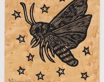 Moth screen print wood veneer card