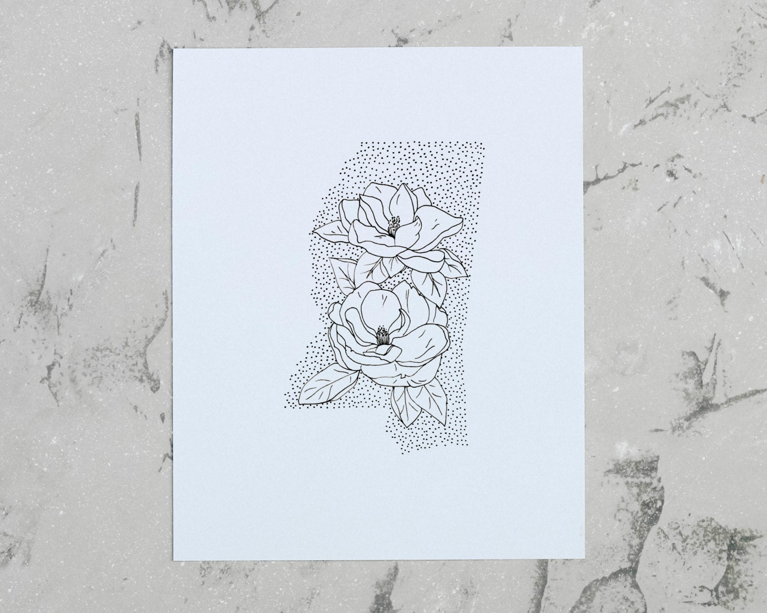 Mississippi Magnolia State Flower Drawing Giclee by annatovar