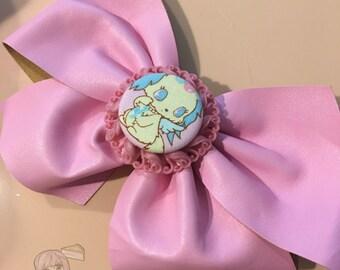 Big Jewelpets Sapphie Puppy Dog Pink Fake Leather Fairy Kei Bow Hair Barrette (1 pcs)