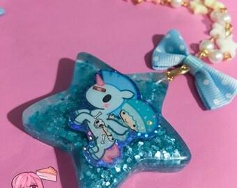 Tokidoki Little Twin Stars Glitter Star Charm Pastel Beads Necklace