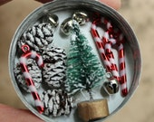 RESERVED for  LINDA 3 Tiny Christmas Gift Wrapping Kits - Retro Tiny Dollhouse Decorations - Miniature Candy Cane Bells Bottle Brush Tree
