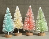 Tall Retro Christmas Pastel Colored Vintage Style Bottle Brush Trees - Pink Mint Aqua Cream Holiday Village Decorations - 3 Inch Trees