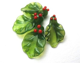 WINTER HOLLY Lampwork Glass Leaf Beads with Red Berries handmade supplies for Christmas sra