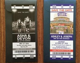 Sport Ticket Wedding Save the Date or Invitation / Custom Printable PDF for DIY