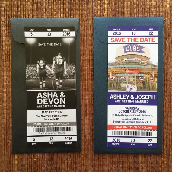 Sport Ticket Wedding Save the Date or Invitation / Custom Printable PDF for DIY