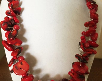 Hand Crocheted Coral Necklace