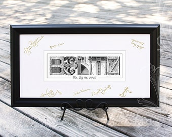 Wedding Guest Book Picture Frame Art | Alternative Guest Book | Signature Mat (Wedding, Anniversary, Retirement) | Small Black Frame
