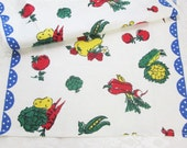 Vintage Towel Vegetables Kitchen Dishcloth Dish Cloth Printed Hand Towel 1940's Unused Bright Primary Colors