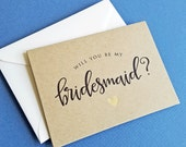 Will You Be My Bridesmaid Card, Kraft with Gold Foil Heart - Bridesmaid, Maid of Honor, Matron of Honor, Junior Bridesmaid, Flower Girl