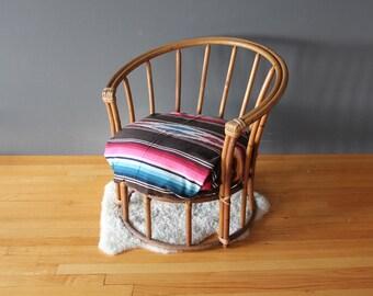 Rattan Barrel Club Side Chair