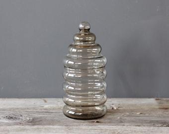 Danish Modern Holmegaard Primula Ribbed Glass Jar by Jacob Bang