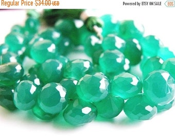 Clearance SALE Green Onyx Gemstone Briolette Faceted Onion 7 to 8mm 30 beads 1/2 strand