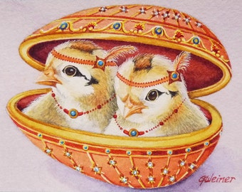 Faberge' Inspired Easter Egg & Chick No 7 and No 8 Miniature Art - Limited Edition ACEO Giclee Print reproduced from the Original Watercolor