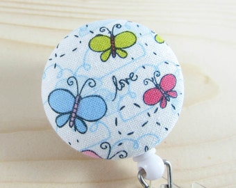 Badge Reel | Retractable Badge Holder, Nurse Badge Reel, ID Badge Holder, Badge Clip | Love Butterflies