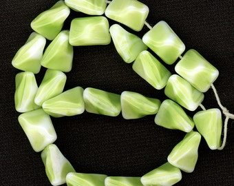 Vintage Glass Beads 12mm Bright Chartreuse Green & White Unique Geometric Shape Made in W. Germany 24 Pcs.