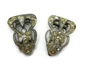 Art Deco Dress Clip Set - Pair Clear Paste Rhinestone Bridal AS IS