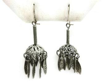Tassel Earrings - Boho,  Costume Jewelry, Mid Century, Pierced Hooks