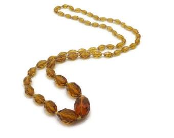 Amber Czech Glass Bead Necklace - Vintage, Long Necklace
