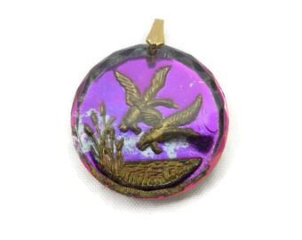 Reverse Carved Glass Pendant - Ducks, Pink Purple Foil Backing
