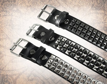 Wide Pyramid Stud Belt - Black/Steel - Studded Leather Belt, Studded Belt, Leather Belt, Mens Leather Belt, Women's Leather Belt, Belt